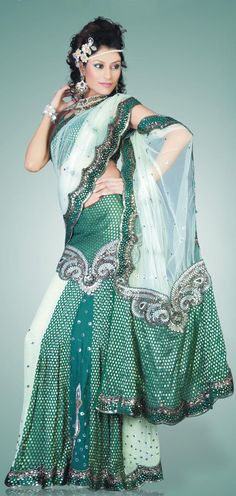 Green And Off White Georgette Brocade,Net Lehenga Saree 8625 With Unstitched Blouse