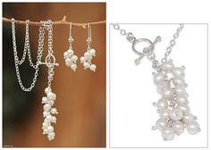UNICEF Market | Hand Made Pearl Earrings and Necklace Jewelry Set - Snowballs