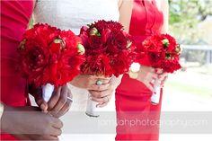 red wedding; red wedding bouquet