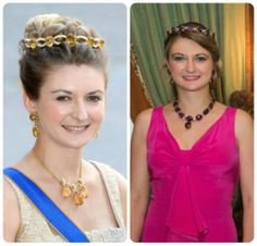 """stephanie of luxembourg in the """"amethyst and pearl"""" and the """"citrine/topaz and pearl bandeau"""""""