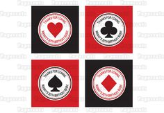 Printable DIY Black and Red Casino Night Poker Playing Card Theme Thank You Favor Tags. $5.00, via Etsy.
