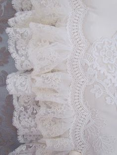 cream rose blush cream gold shabby chic style vintage- pretty enough to be on a wedding gown! Lace Ribbon, Lace Ruffle, Ruffles, White Lace Fabric, Floral Lace, Vintage Shabby Chic, Vintage Lace, Pearl And Lace, Linens And Lace