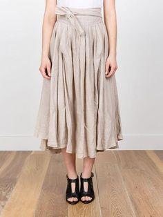 Black Crane Wrap Skirt in Oatmeal
