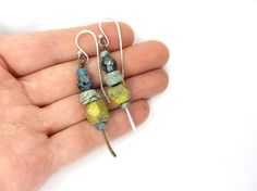 Faceted Bead Stack Earrings Handmade Ceramic Beads by RaggedRobyn