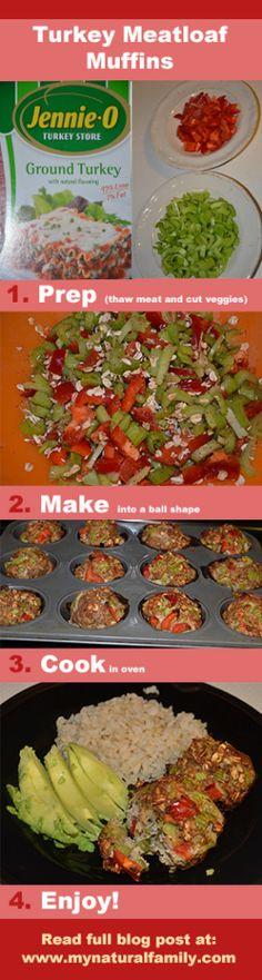 Gluten-Free Turkey Meatloaf Muffins Recipe - Fast, Healthy & Delicious - MyNaturalFamily.com #turkey #recipe