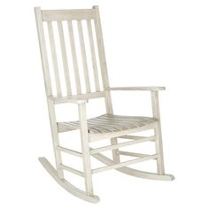 Perfect for your sunroom or three-season porch this classic acacia wood rocking chair features a slatted design and whitewash finish.