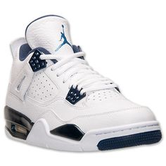 Men's Air Jordan Retro 4 LS Basketball Shoes | Finish Line | White/Legend Blue/Midnight Navy