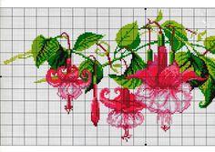 Fuchsia Cross Stitch Chart (1) Cross Stitch Alphabet, Cross Stitch Charts, Cross Stitch Designs, Cross Stitch Patterns, Cross Stitching, Cross Stitch Embroidery, Embroidery Patterns, Cross Stitch Geometric, Fuchsia Flower