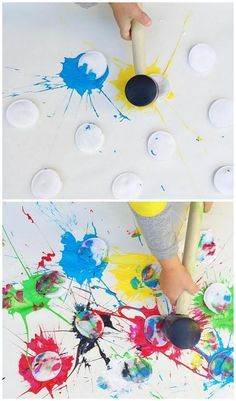 Business for kids, paint splats, babysitting fun, art activities for kids, projects Kids Crafts, Art Activities For Kids, Toddler Crafts, Creative Crafts, Toddler Activities, Arts And Crafts, Painting Activities, Toddler Art Projects, Quick Crafts