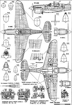 Curtiss P-40 Warhawk Blueprint - Download free blueprint for 3D ...