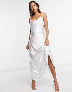 ASOS Design Satin Maxi Dress With Strap Back Detail Wrap Wedding Dress, Satin Kimono, Satin Cami, Satin Midi Skirt, Slip Skirts, Satin Dresses, Women's Dresses, Party Dresses, Dresses For Sale