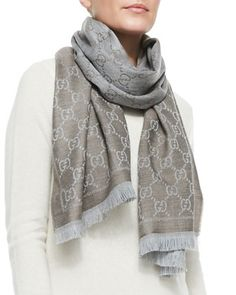 Stencil+GG+Logo+Scarf,+Taupe+by+Gucci+at+Neiman+Marcus.