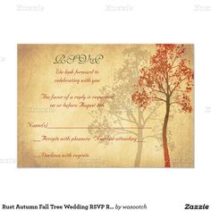 Rust Autumn Fall Tree Wedding RSVP Reply Card
