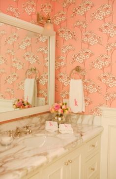 very feminine floral bathroom. reminds me of my grandmother's awesome ranch style house.