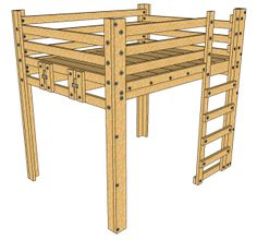 -- JUST PLAN- Also for Queen, but we could modify? It's a place to start! Queen Loft Bed Plans - DIY - This loft bed is a sturdy elevated frame for a queen bed. You can also start with this project and add on to create the Bed Fort! Loft Bed Plans, Murphy Bed Plans, Bunk Beds With Stairs, Kids Bunk Beds, Queen Loft Beds, Murphy-bett Ikea, Elevated Bed, Best Murphy Bed, Diy Bett