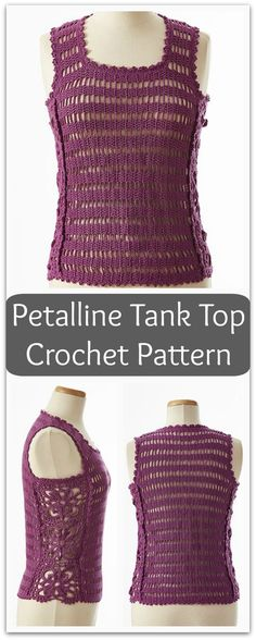 This lovely tank features beautiful motifs along the side. The body of the tank is worked side to side making it truly unique. #ad #affiliate #crochet #pattern