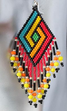 FAVONIR Colorful Assorted Beaded Necklace 12 Pack of Metallic Round Mardi Gras Costume Necklace Accessory 33 Inch 7 mm– for Events and Party Favor Novelty – Fine Jewelry & Collectibles Beaded Earrings Native, Beaded Earrings Patterns, Native Beadwork, Beading Patterns, Seed Bead Jewelry, Bead Jewellery, Seed Bead Earrings, Art Perle, Brick Stitch Earrings