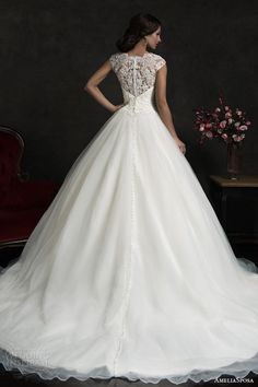 amelia sposa 2015 bridal monica lace bodice cap sleeve ball gown wedding dress back view train