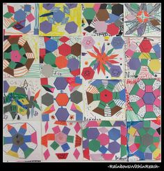 Kindergarten Group Collaborative Art Project using Quilt Squares in Math and Art Project....I would love to do this