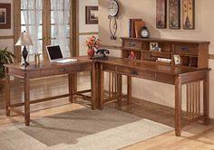 Cross Island L-Shape Desk w/ Low Hutch ,Signature Design by Ashley