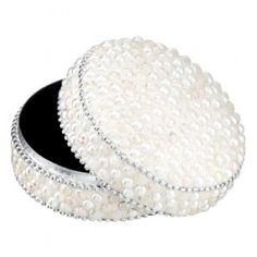 White jewelled beaded trinket box, a great Christmas gift.