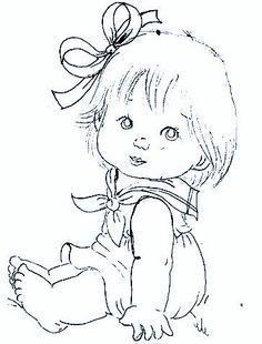 Colour it, sew it, trace it, etc. Colouring Pages, Adult Coloring Pages, Coloring Books, Art Drawings Sketches, Cute Drawings, Baby Drawing, Hand Embroidery Patterns, Baby Embroidery, Baby Art