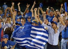 MLB: ALDS-Kansas City Royals at Los Angeles Angels - Oct 2, 2014; Anaheim, CA, USA; Kansas City Royals fans celebrate after 3-2 victory in 11 innings over the Los Angeles Angels in game one of the 2014 ALDS at Angel Stadium of Anaheim. (Kirby Lee-USA TODAY Sports)