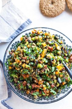Vegan sun-dried tomato lentil salad in a bowl from a bird's eye view.