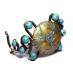 steampunk bracelet golden  by *CatherinetteRings  Artisan Crafts / Jewelry