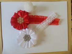 white and red headbandbaby girl headbandshandmade by flowerliss
