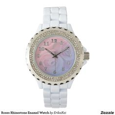 Pantone 2016. Pink Roses Women's Rhinestone White Enamel Watch, white or black.