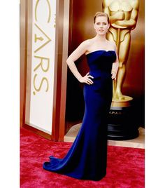 Amy Adams: Gucci Premiere custom sapphire silk crepe tuxedo gown; Tiffany & Co. rhodochrosite, lapis and turquoise earrings with diamonds in 18Kyellow gold, square modified brilliant yellow diamond bracelet in 18Kyellow gold, fire opal, pink sapphire, yellow diamond, and spessertite bead ring with diamonds from the 2014 Blue Book Collection, andTiffany metro diamond band rings.