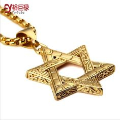 Punk gold Hip Hop for men Vintage Mysterious Stainless Steel Jewish Star Of David Pendants Cuban Chain Judaica Israel Necklace