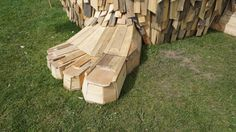 Detailed Troels the Troll is built out of recycled wood pallets and scrap.