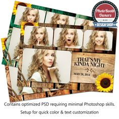That's My Kinda Night Postcard. A bold photo booth template design that is heavily influenced with a rustic western feel. The design features a beautiful rustic wood background that is easily tailored to fit your event's needs. Burnt event information and adornments are flanked by wheat, sun flowers and a unique barrel brand. This templates screams country and is sure to delight any client of yours hosting a rustic country event!