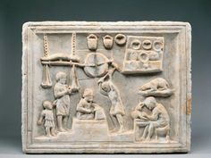 Roman civilization, 1st century A.D. – Pompei – Marble relief – Sign of the coppersmith's shop Naples, Museo Archeologico Nazionale
