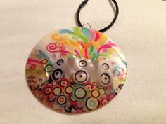 SALE 20  Necklace  Colorful Shell Pendant on Black by CraftyChic90, $5.00