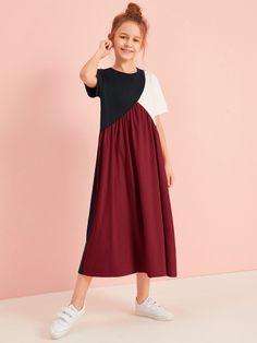 Girls Cut And Sew Tee Dress – Kidenhouse Girls Fashion Clothes, Kids Outfits Girls, Kids Fashion, Girl Outfits, Girls Maxi Dresses, Little Girl Dresses, Cute Dresses, Frock Fashion, Fashion Dresses