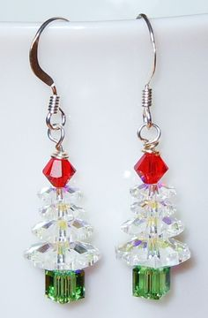 Christmas tree earrings. So cute for the holidays!