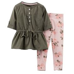 Carter's Babydoll Tunic & Floral Pants Set - Baby