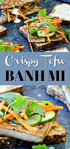 This vegetarian Crispy Tofu Banh Mi is a delicious, lightened up twist on a classic Vietnamese sandwich. Less Sodium Soy Sauce flavors the tofu with a bold umami infusion and keeps sodium levels in check. Share your own favorite ideas! Delicious Vegan Recipes, Vegetarian Recipes, Healthy Recipes, Vegetarian Options, Tofu Recipes, Vegan Meals, Healthy Dinners, Homemade Greek Yogurt, Veggie Snacks
