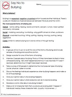 Bullying And The 4 Types Worksheets All Kinds Of In Subjects