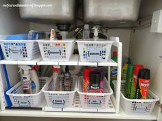Under-sink #organization using plastic bins-baskets from the dollar store