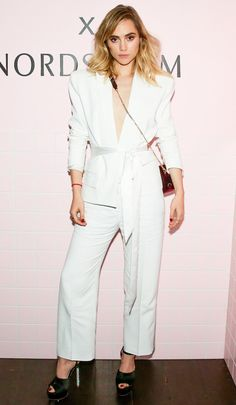 Suki Waterhouse in a white belted suit