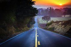 Sunset over Fern Ridge Road just outside of Stayton Oregon