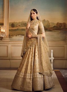 Gold Silk Bridal And Wedding Wear Lehenga Choli Designer Bollywood Saree Indian Indian Bridal Outfits, Indian Bridal Lehenga, Indian Bridal Wear, Indian Dresses, Indian Wear, Indian Sarees, Lehenga Wedding, Indian Blouse, Lehenga Sari