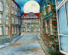 watercolor, own technique, 300g paper Nocturne, Watercolor, City, Paper, Painting, Pen And Wash, Watercolor Painting, Watercolour, Painting Art