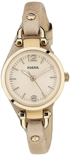 Fossil Women's ES3262 Georgia Mini Three Hand Leather Watch - Sand ** Want to know more about the watch, click on the image.