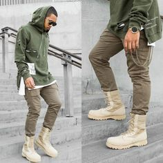 Nid.De.Guepes Combat Boots, C2 H4 La Branch Hoodie, Zero Uv Sunglasses, Domeni Watch Co Watch, C2 H4 La Cargo Pants