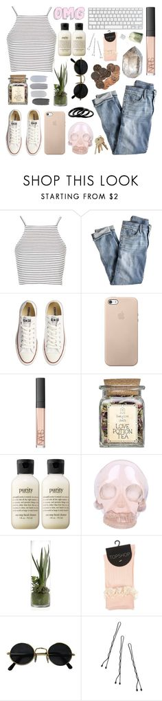 """serenity"" by http-mxrmaid ❤ liked on Polyvore featuring Topshop, J.Crew, Converse, NARS Cosmetics, philosophy, Horace, Conair and Furla"
